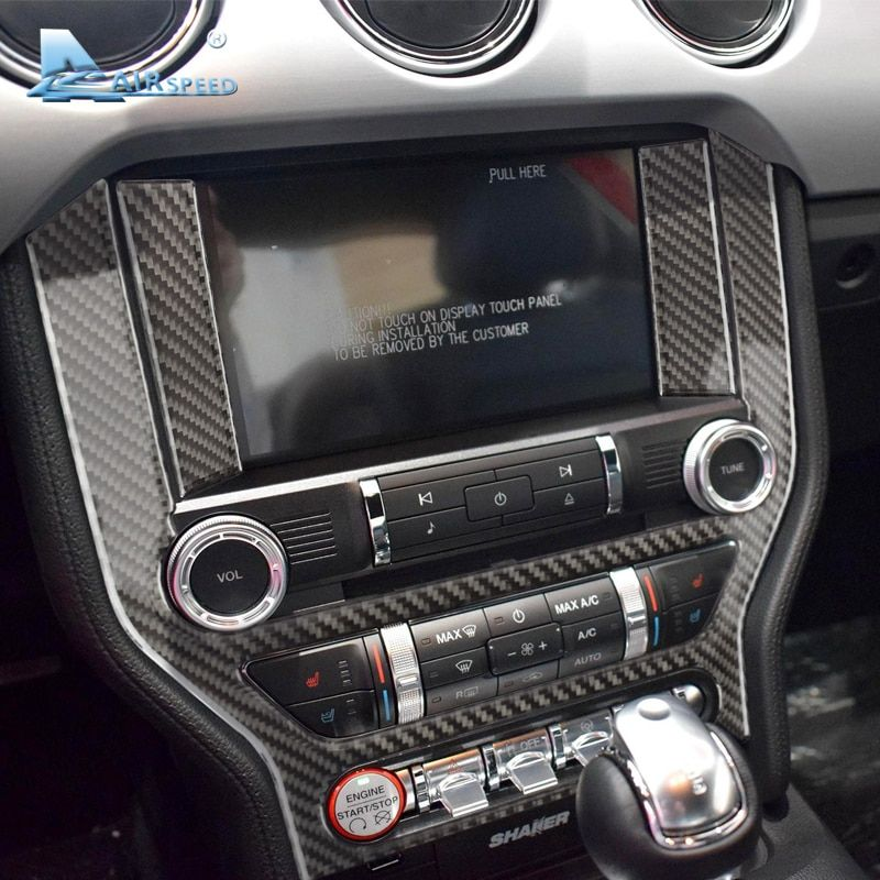 Airspeed Carbon Fiber Car Console Frame Stickers For Ford Mustang 2015-2017 Car Center Control Panel AC CD Covers Car Styling