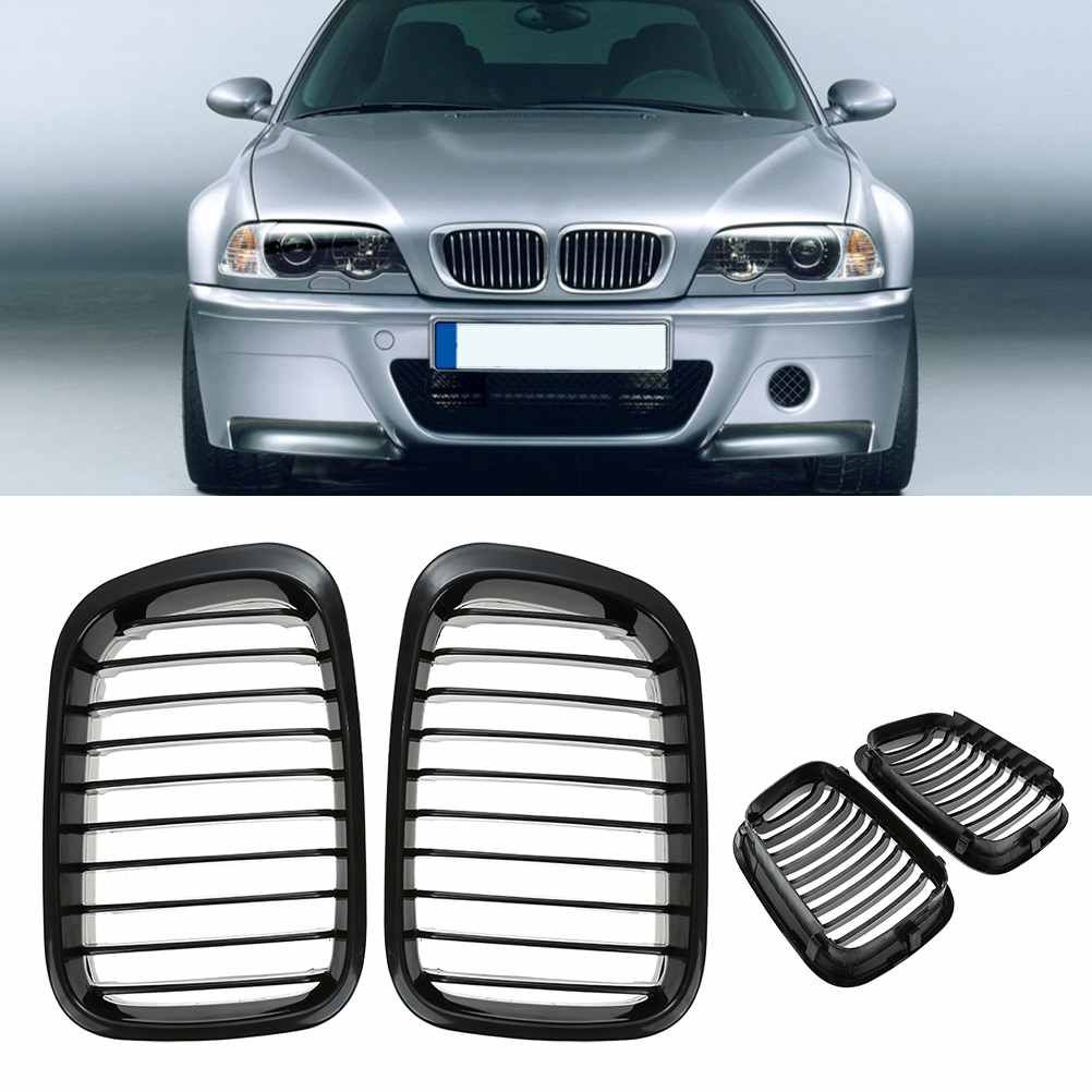 2pcs Glossy Black Car Front Kidney Grill For BMW E46 4D 3-Series 98-01 328i 330i