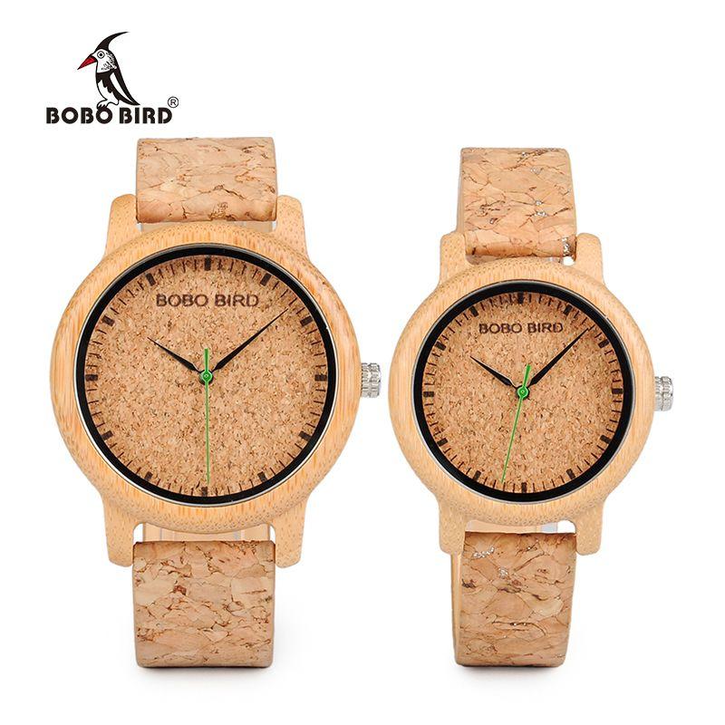 BOBO BIRD WM11M12 Lovers Casual Quartz Watches for Men Natural Bamboo Watch face Women's Brand Watches in Box Dropshipping