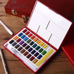 Faber-castell 24/36/48 Couleur Solide Aquarelle Peinture Boîte Avec Pinceau Lumineux Couleur Portable Aquarelle Pigment ensemble Art Fournitures