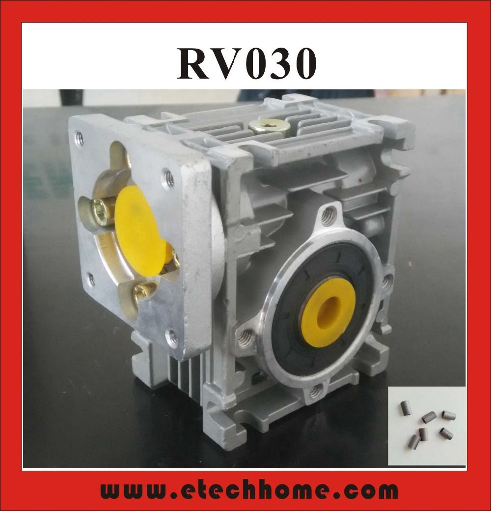 7.5:1 to 80:1 Worm Reducer RV030 Worm Gearbox Speed Reducer With Shaft Sleeve Adaptor for 8mm Input Shaft of Nema 23 Motor