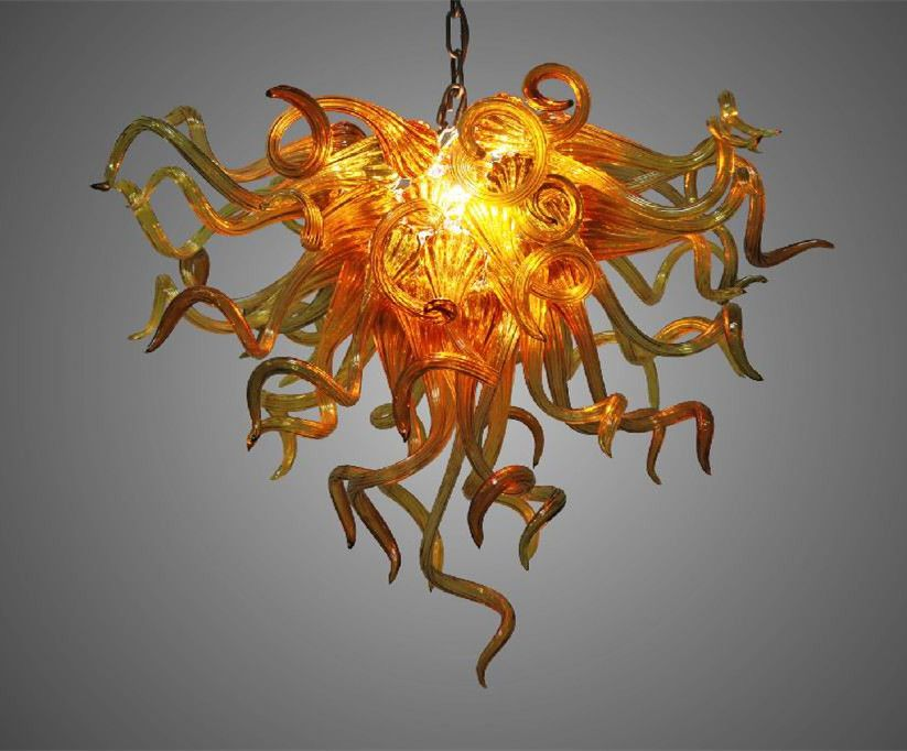 Amber Glass Chandelier for Home Decoration Energy Saving Light Source Cheap Chihuly Style Hand Blown Glass Cheap Chandelier