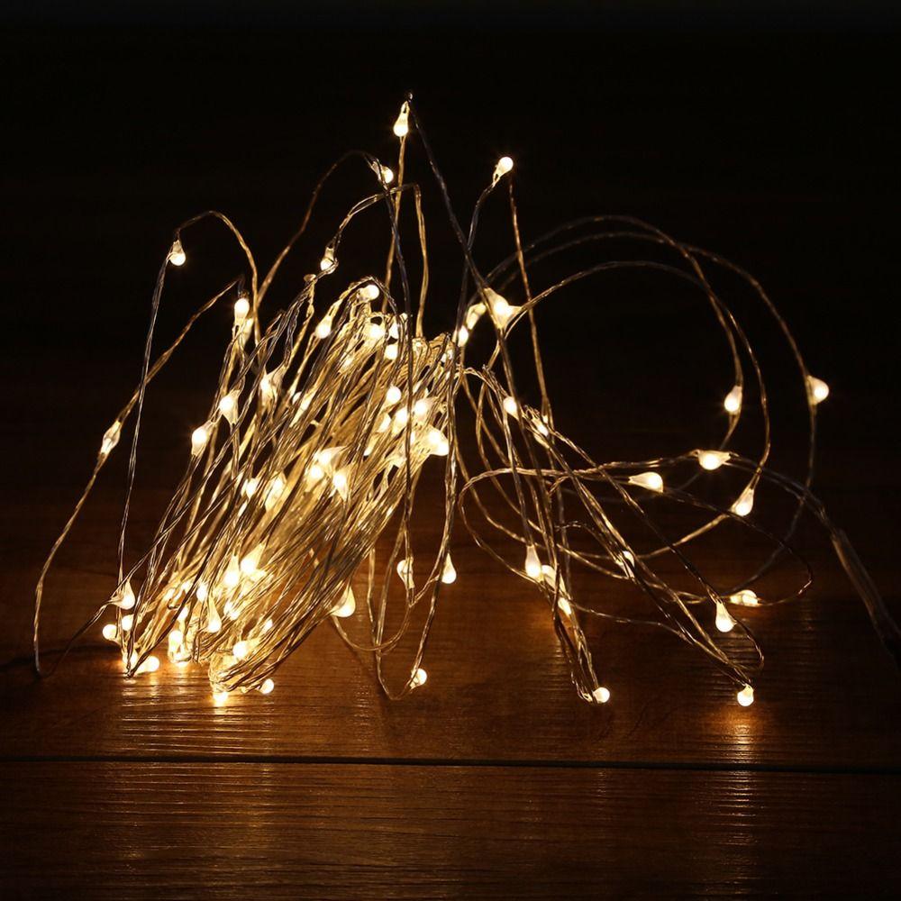 10 м 100 светодиодный огни строки открытый рождественские огни Фея теплый белый серебряной проволоки светодиодный Звездное огни DC 12 В Свадебн...