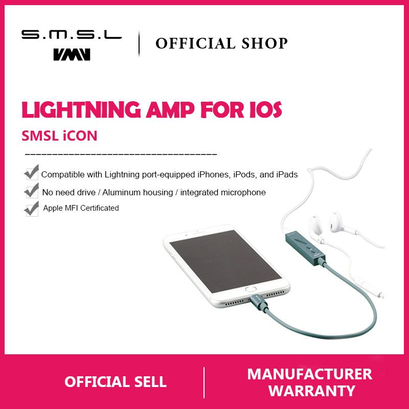 SMSL ICON HI-FI Audio Decoder Portable Headphone Amplifier DAC Input Lightning Connector Built-in Microphone for iPhone IOS