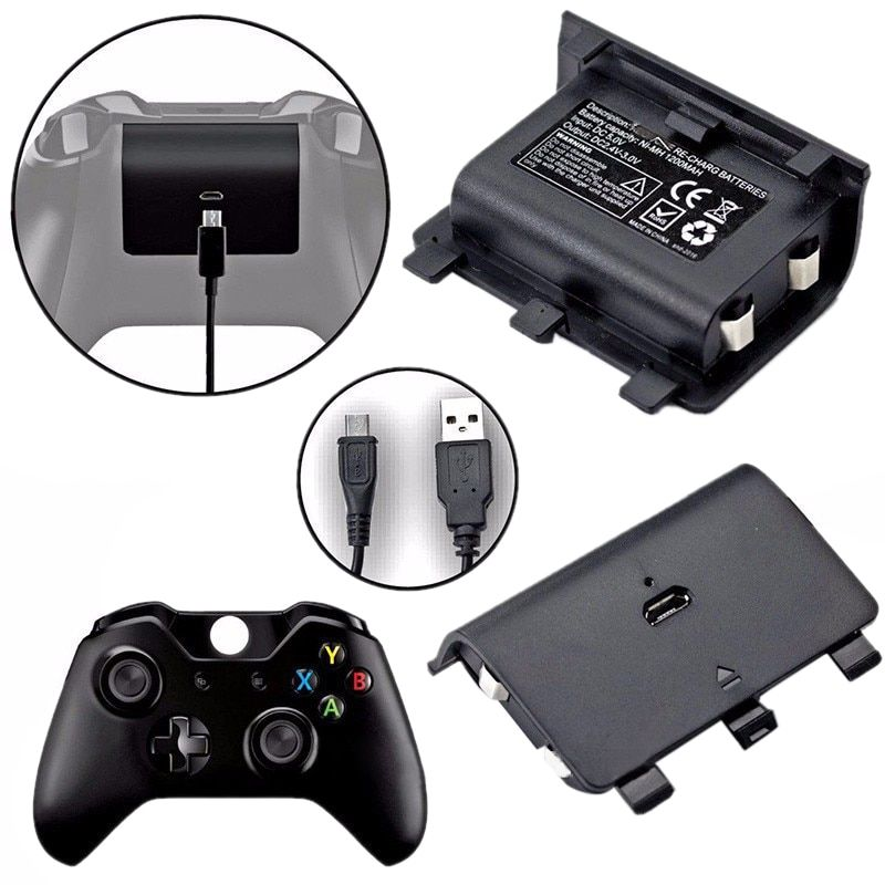 2 x 2400mAh Batteries + USB Cable For XBOX ONE Controller Charging Kit Wireless Gamepad Joypad Rechargeable Backup Battery Pack