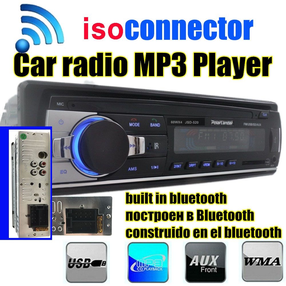 2015 New1 DIN 12V Car Stereo FM Radio MP3 Audio Player Built in Bluetooth Phone with USB/SD MMC Port Car Electronics In-Dash