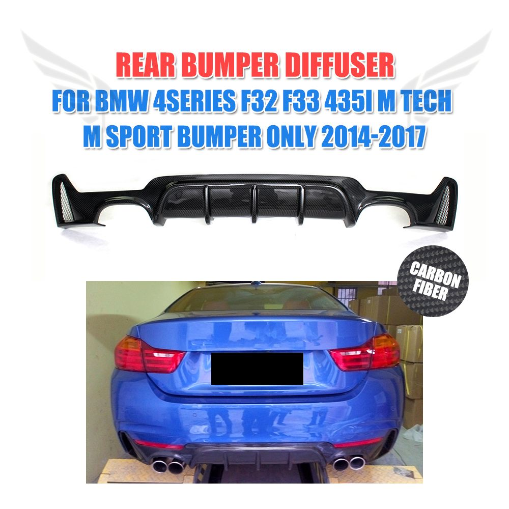Carbon Fiber Car Rear bumper lip diffuser Spoiler for BMW 4 series F32 F33 435i M Tech M Sport Bumper Only 2014-2017 P style