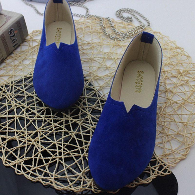 2018 été offre spéciale travail femmes bouche peu profonde appartements chaussures simples couleur bonbon Nubuck cuir confortable mocassins chaussures taille 35-43