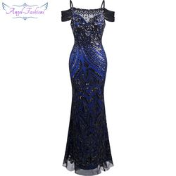 Angel-fashions vestido de festa Boat Nect Sequin  Mermaid Long Evening Dress Abendkleid  Black 220