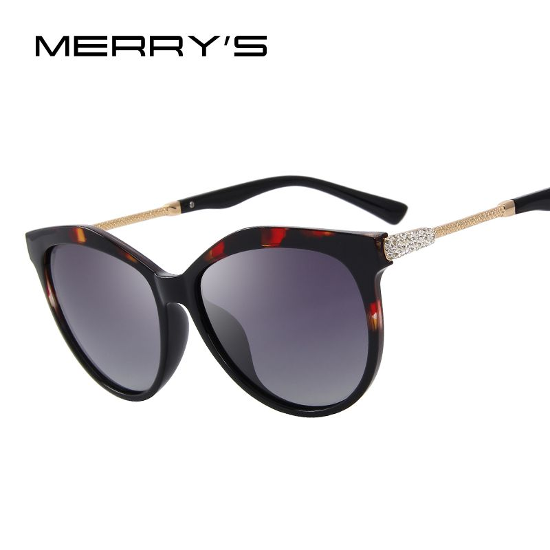MERRY'S Women Classic Polarized Sunglasses Luxury Sun Glasses Rhinestone Metal Temple 100% UV Protection S'6218