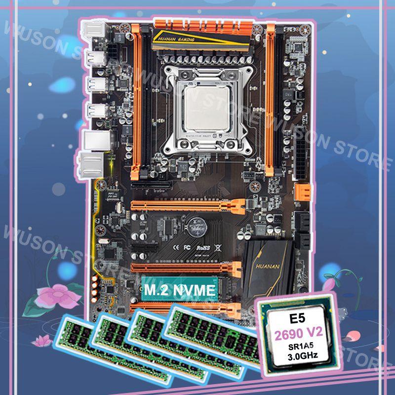 Marke neue HUANAN ZHI deluxe rabatt X79 LGA2011 motherboard mit M.2 NVMe CPU Intel Xeon E5 2690 V2 3,0 ghz RAM 64g (4*16g) RECC
