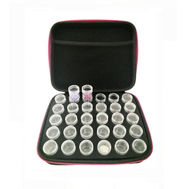 30 bouteilles Diamant Peinture Box Conteneur De Stockage Carré Plein Titulaire Carry Case De Stockage Sac À Main À Glissière Conception Antichoc