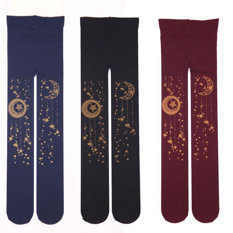 Сладкий Мори колготки для девочек Kawaii Gold Star & Moon штампованные 100d Лолита колготки
