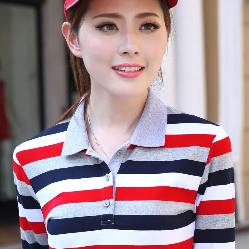 High Quality 2017 Autumn And Winter Striped Long-sleeved Fashion Polos Female Cotton Casual Sportswear Polo Shirts Plus Size