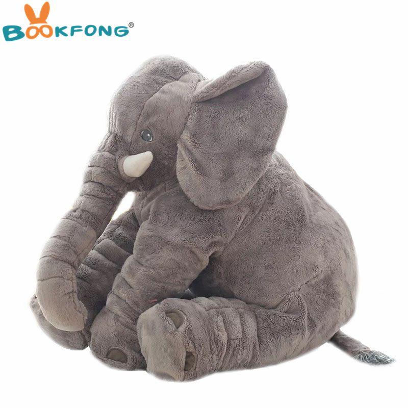 40 cm/60 cm Grand Éléphant En Peluche Poupée Enfants de Couchage Coussin de Dos Doucement Mignon En Peluche Éléphant Bébé Accompagner Poupée cadeau de noël