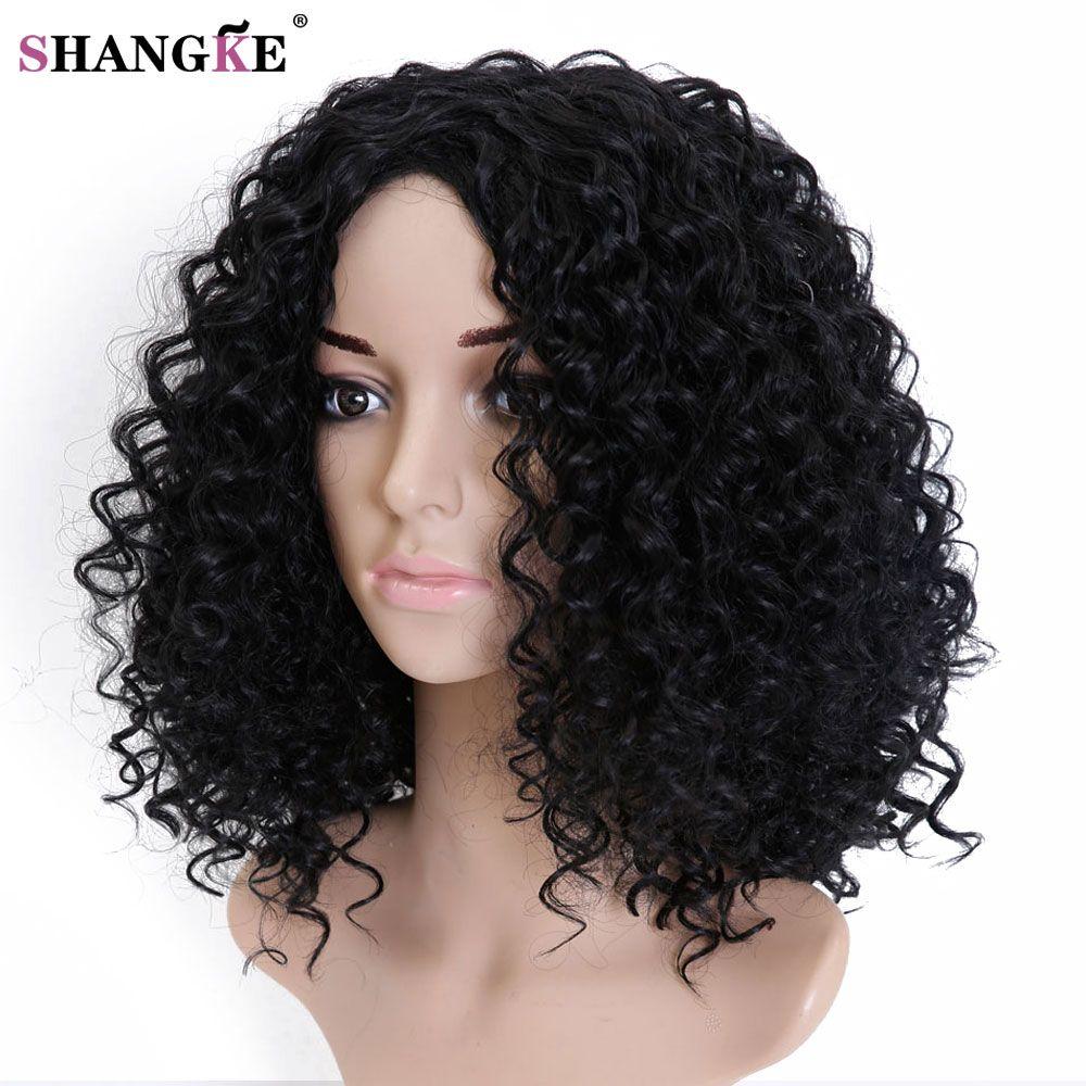 Shangke волос афро кудрявый парик вьющиеся Искусственные парики для черный Для женщин жаропрочных женский Искусственные парики Для женщин ест...