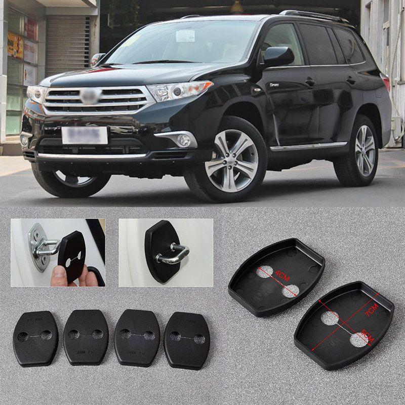 4pcs Black Auto Door Safety Striker Lock Protective Cover Kits For Toyota Highlander