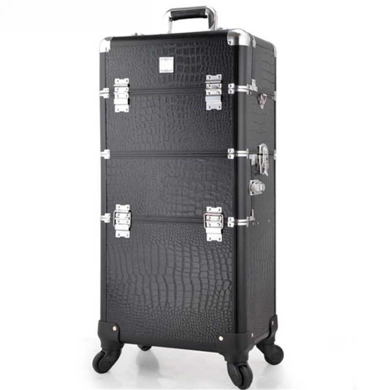 Dual use cosmetic profession travel trolley makeup box beauty case professional large Luggage suitcase Bag makeup Aluminum frame