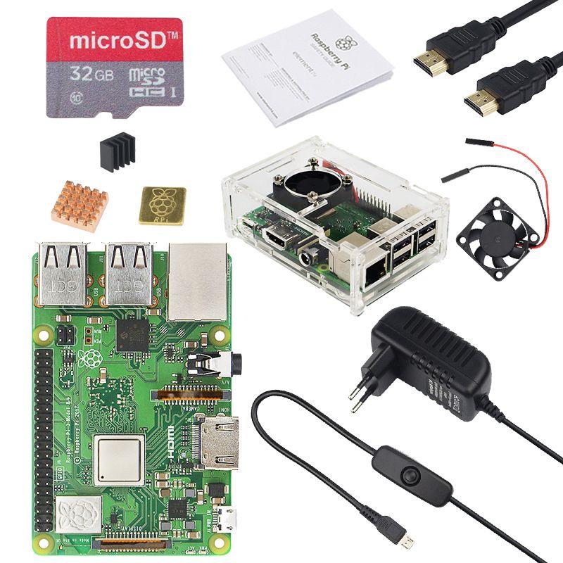 D'origine ROYAUME-UNI RS Framboise Pi 3 Modèle B + kit avec 3A Puissance Adaptateur et Transparent Acrylique Cas mieux que raspberry Pi 3