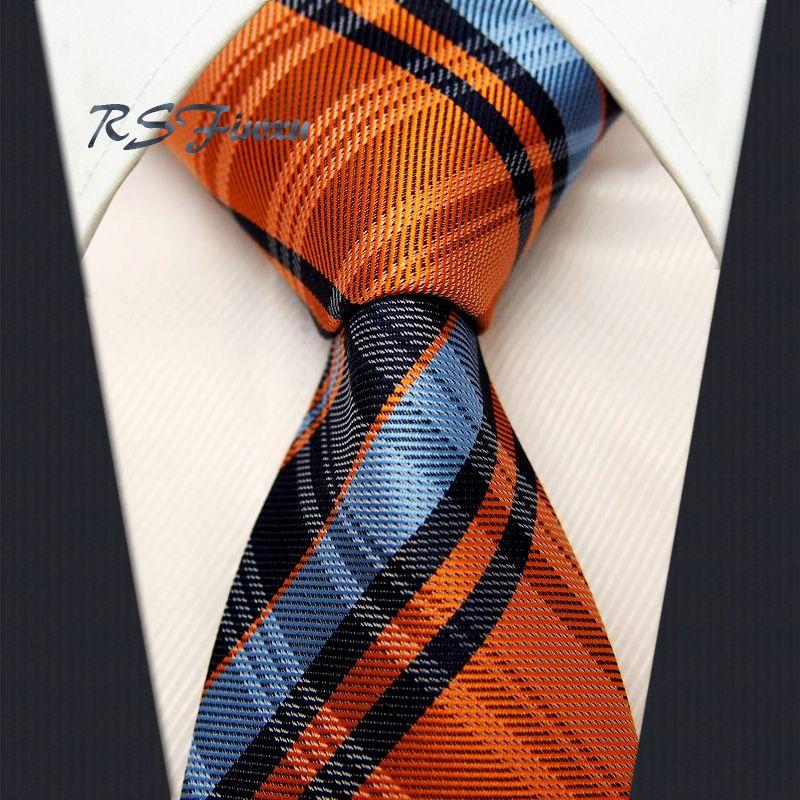 Envío Gratis chequeado naranja azul marino corbata 100% nueva corbata tejida jacquard de seda boda al por mayor