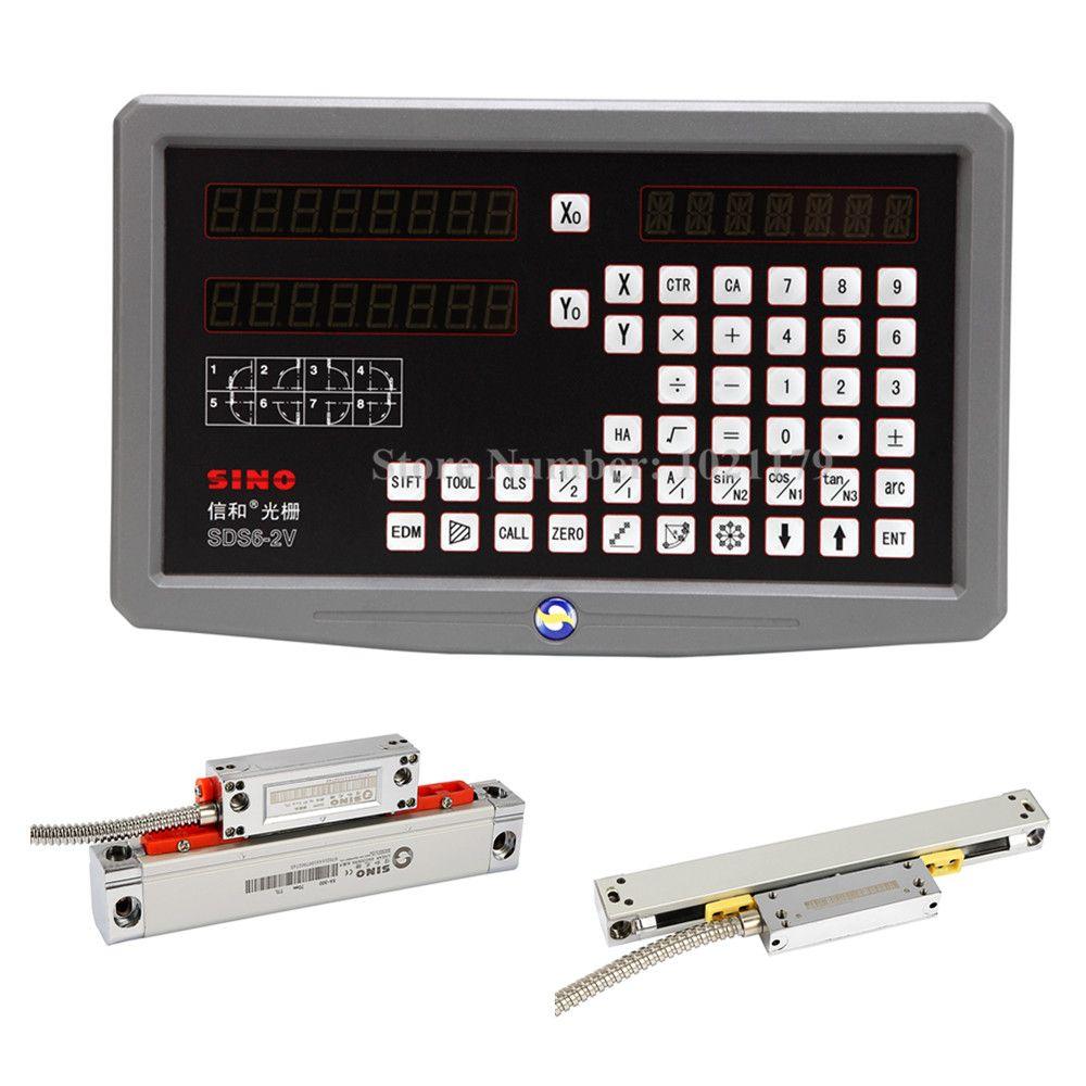 Fräsen Drehmaschine 0,005mm 0,001mm SINO DRO kit SDS6-2V 2 achsen anzeige DRO + KA300 lineargeber + KA500 dünne lineare skala