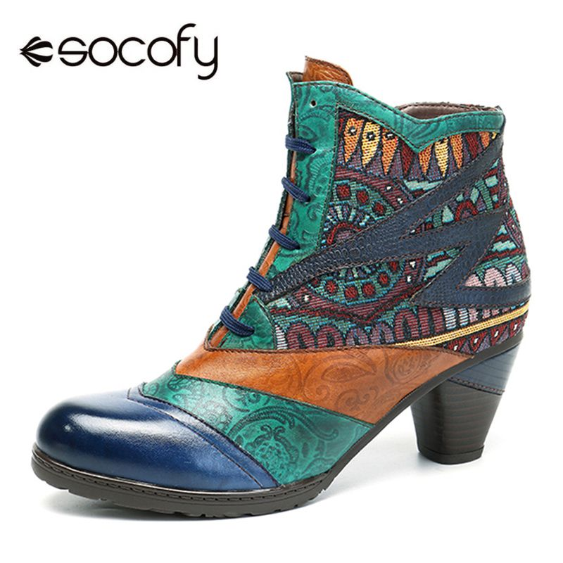 Socofy Bohemian Splicing Women Boots Retro Genuine Leather Shoes Woman Zipper Mid Heels Ankle Boots Spring Autumn Women Shoes