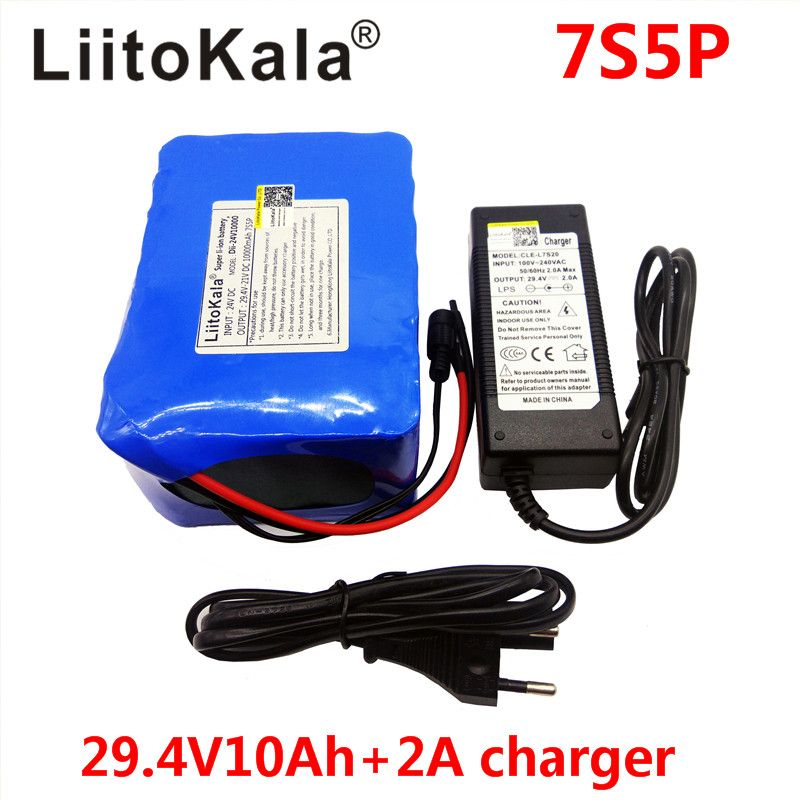 HK LiitoKala 24v 10ah 7S5P battery pack 15A BMS 250w 29.4V 10000mAh battery pack for wheelchair motor electric power+2A charger
