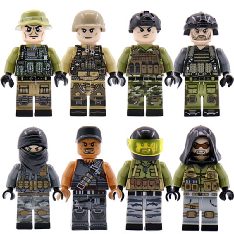 Military SWAT Team Guns Weapons Pack Building Blocks City Police Figure WW2 Compatible Legoings Bricks Army Builders Toys Gift