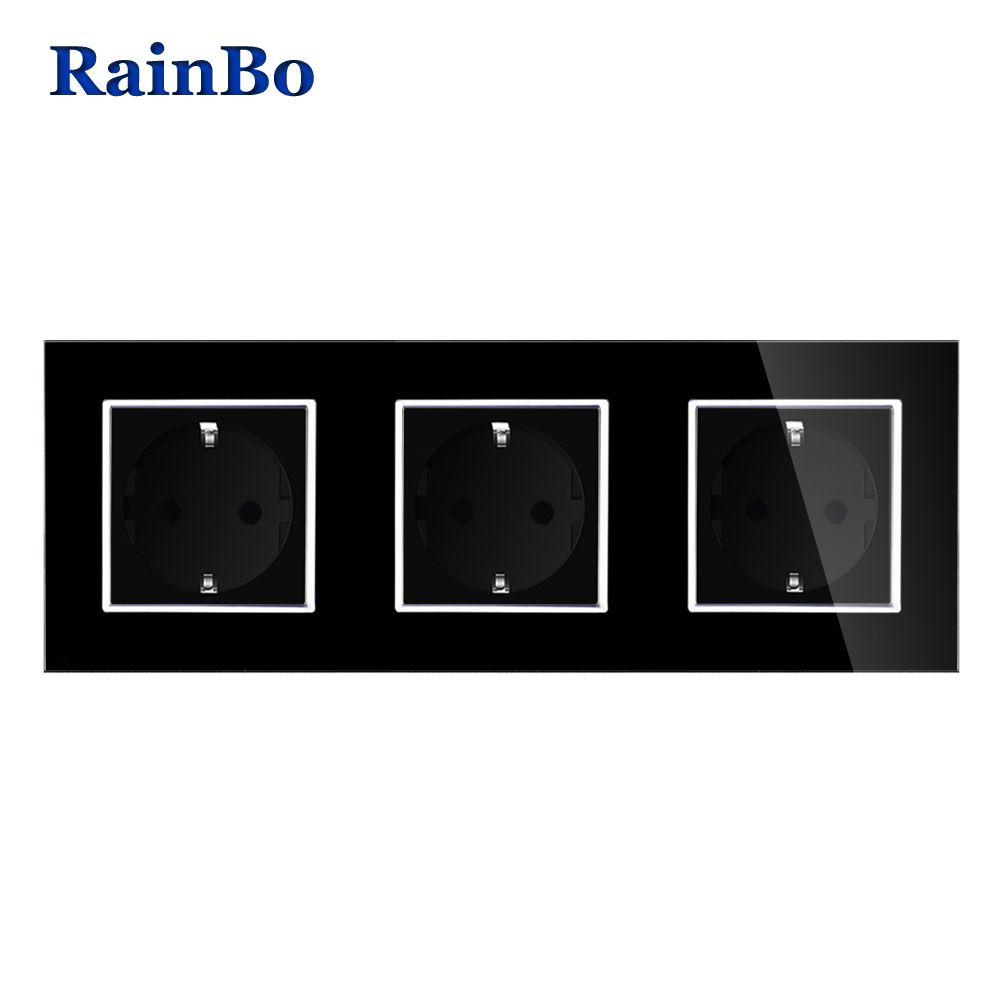 RainBo Brand Manufacturer Wall power Socket EU Standard Crystal Glass Panel AC 110~250V 16A 222*80mm Wall Socket A38E8E8EB
