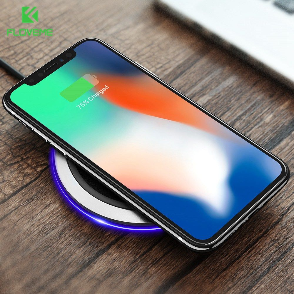 FLOVEME Qi Wireless Charger For iPhone X 8 Plus 5V 2A Standard 9V 1.8A Leather Fast Charger For Samsung Galaxy Note 8 S8 Plus