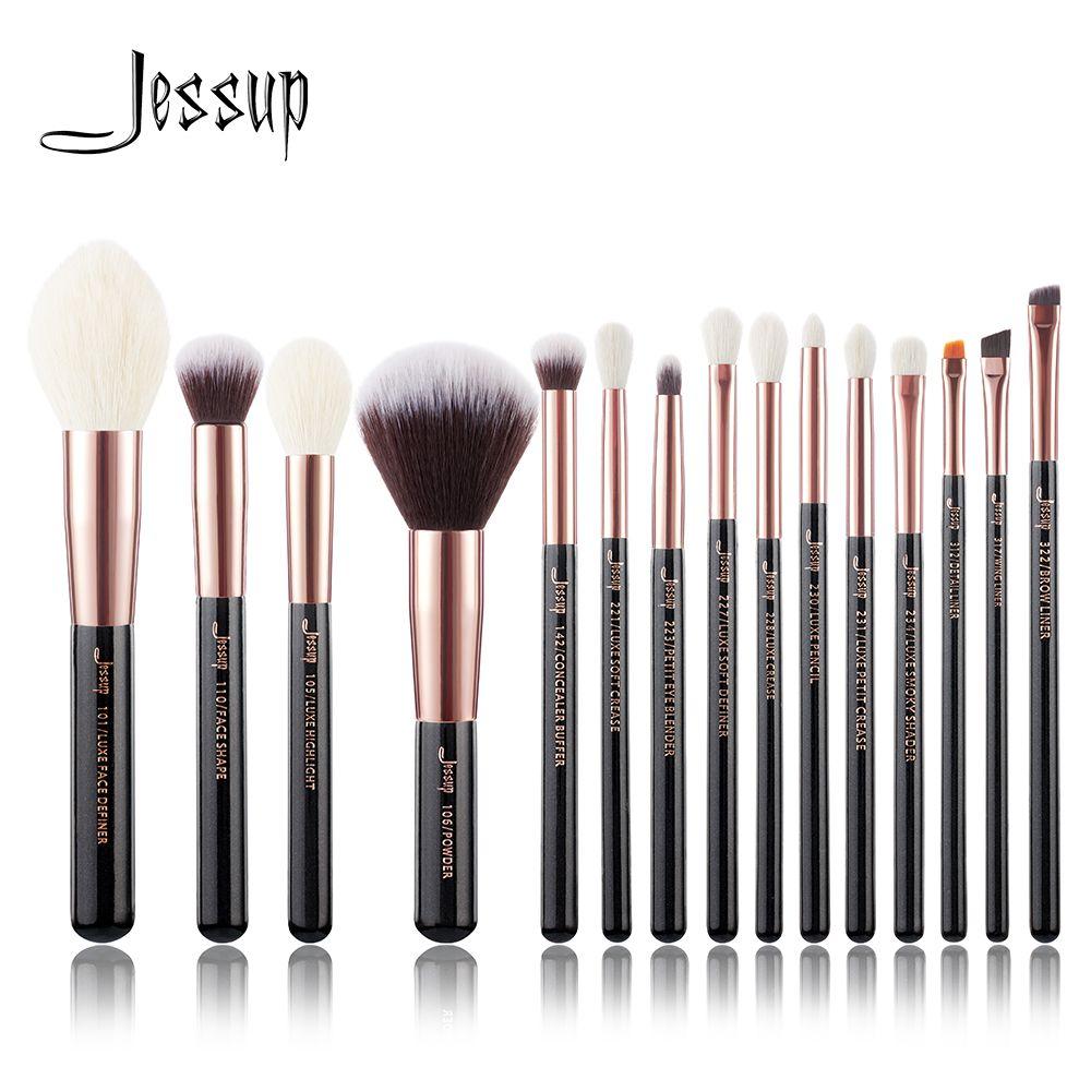 Jessup pinceaux or Rose/noir pinceaux de maquillage professionnel Set fond de teint poudre maquillage pinceau crayon naturel-cheveux synthétiques