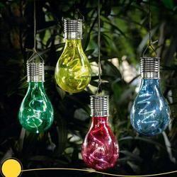 LumiParty Solar Powered LED lámpara colgante con Sensor de luz bombilla lámpara de césped para el jardín al aire libre de Camping (luz blanca caliente)