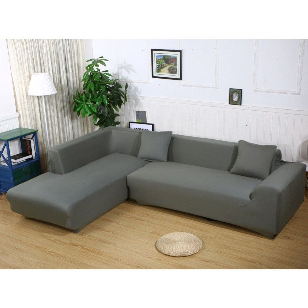 Enipate L Shape Stretch Elastic Fabric Cover Sectional /Corner Couch Covers Elastic Sofa Anti-ash Decor Resistant Sofa Cover