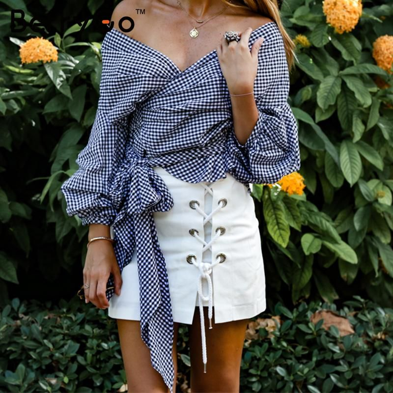 BerryGo Off shoulder ruffle white blouse Sexy cotton cool blouse shirt women Winter 2018 female strappy top tees blusas
