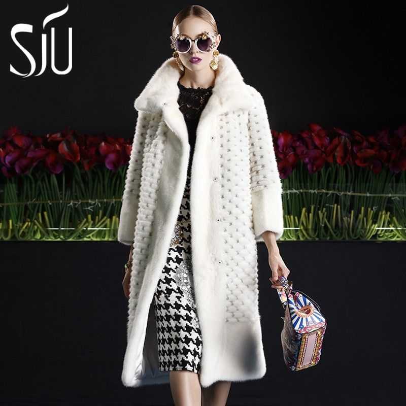Sju marten velvet overcoat female mink fur overcoat fur coat medium-long female jacket fur coats winter jackets mex
