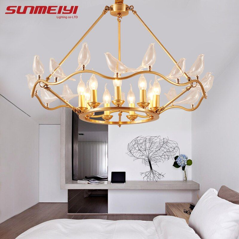 Kreative Vogel Kupfer Kronleuchter Für wohnzimmer Schlafzimmer Neue Art Deco Amerika Kronleuchter Moderne Led Leuchten
