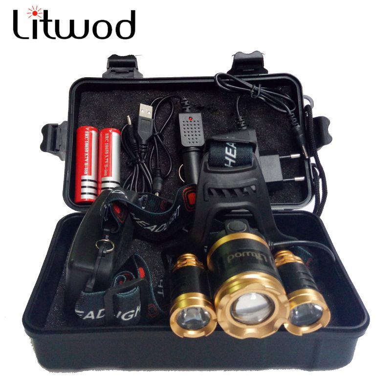Litwod Z20 13000LM LED T6 Phare Tête Lampe éclairage vélo Lumière lampe de Poche Torche Lanterne De Pêche phare Pour Camping lumière