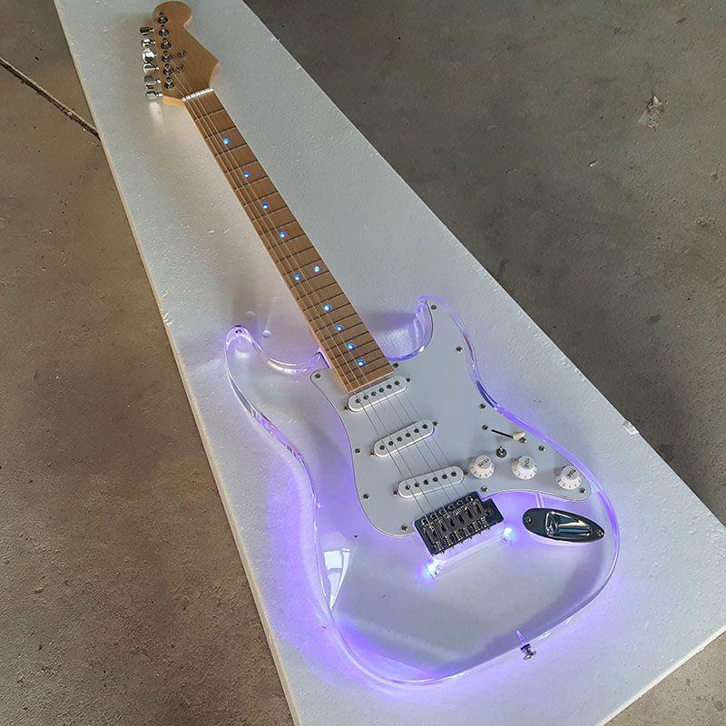 Custom shop, Acryl körper LED-licht Strat e-gitarre, Ahorn griffbrett, 3 * standard single coils pickups, echt bild! Haben Video