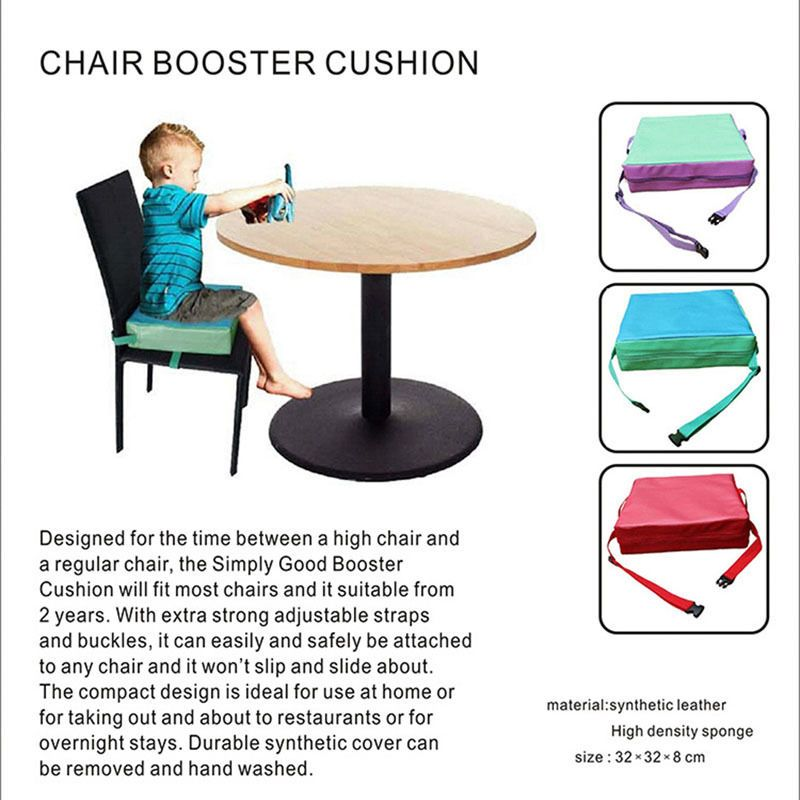 New 1Pc Chrilren Increased Booster Chair Pad Dining Room Baby Kids Seat Soft Removable Chair Cover Cushion