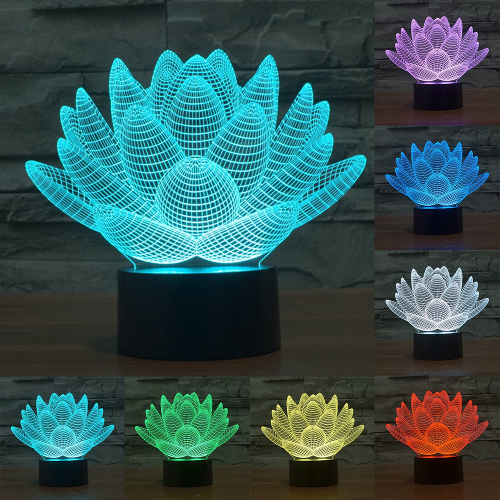 7 color <font><b>changing</b></font> Touch Lotus 3D colorful night light strange stereoscopic visual illusion lamp LED lamp Decor light IY803339