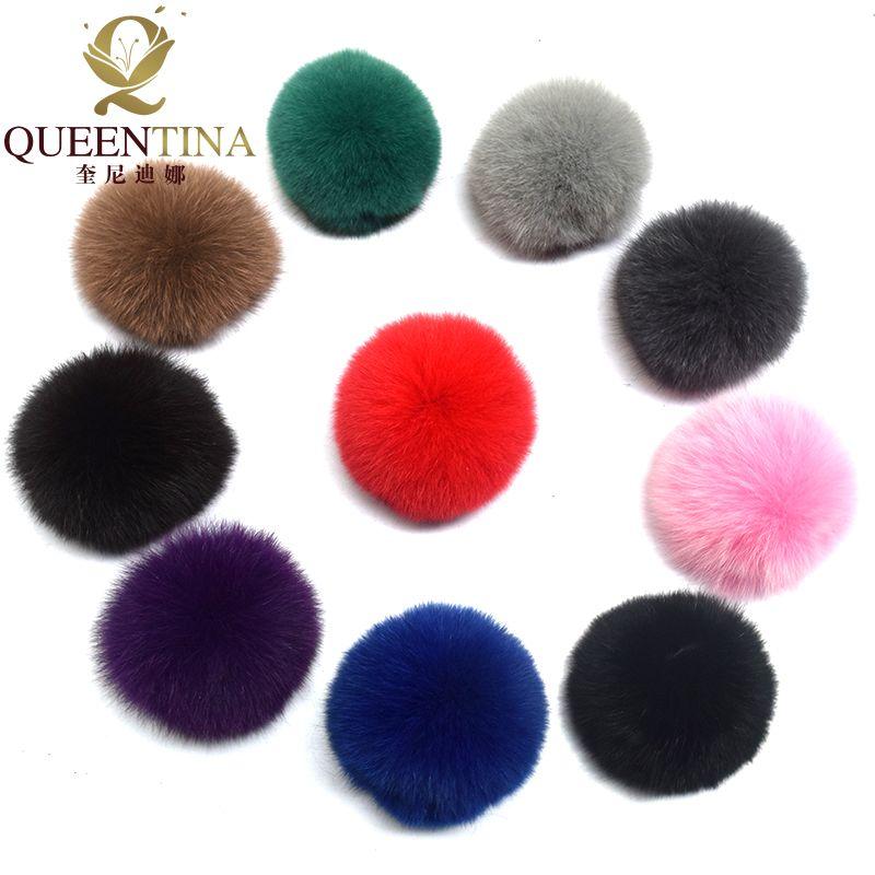 Echt Fox Fell Pompon Echten Pelz Pom Poms Ball für Hüte & Mützen große Natürliche Fell Pompon Ball Für Schuhe Taschen Zubehör Bonbonfarben