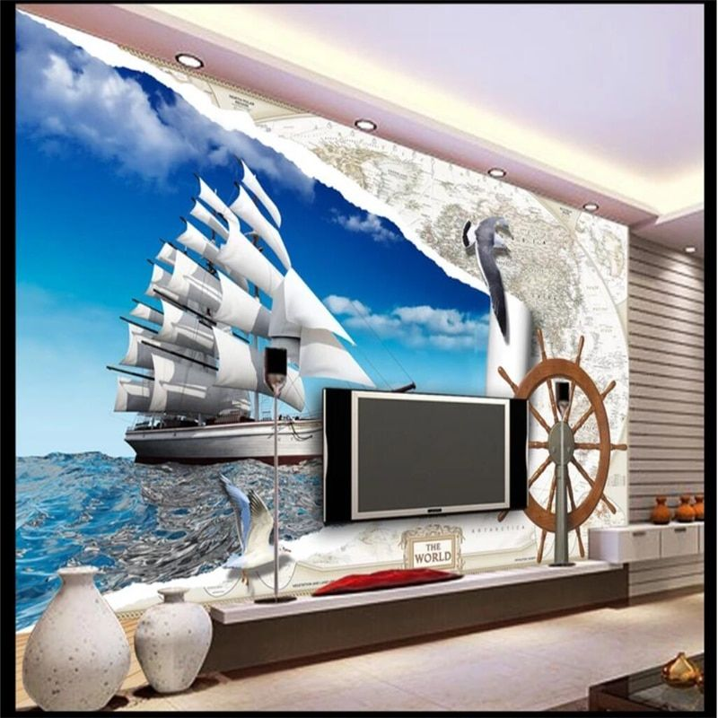 beibehang Custom wallpaper fresco of any size photo European map 3d sailboat steering wheel Sailing boat Seagull TV background