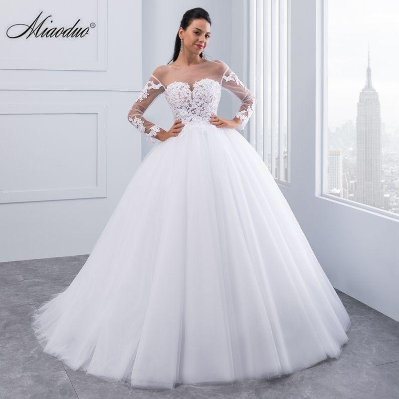 Miaoduo New Arrival Vestido de Noiva Appliques Long Sleeve Lace Wedding Dresses Backless Sexy Bride Dresses Cheap Wedding Gowns