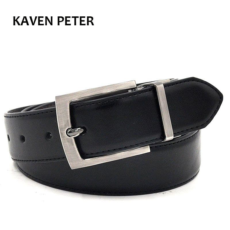 Negro marrón cinturones reversible Pasadores hebilla Correa en negro/marrón oscuro diseñador cinturones de lujo marca de cuero 35mm ancho