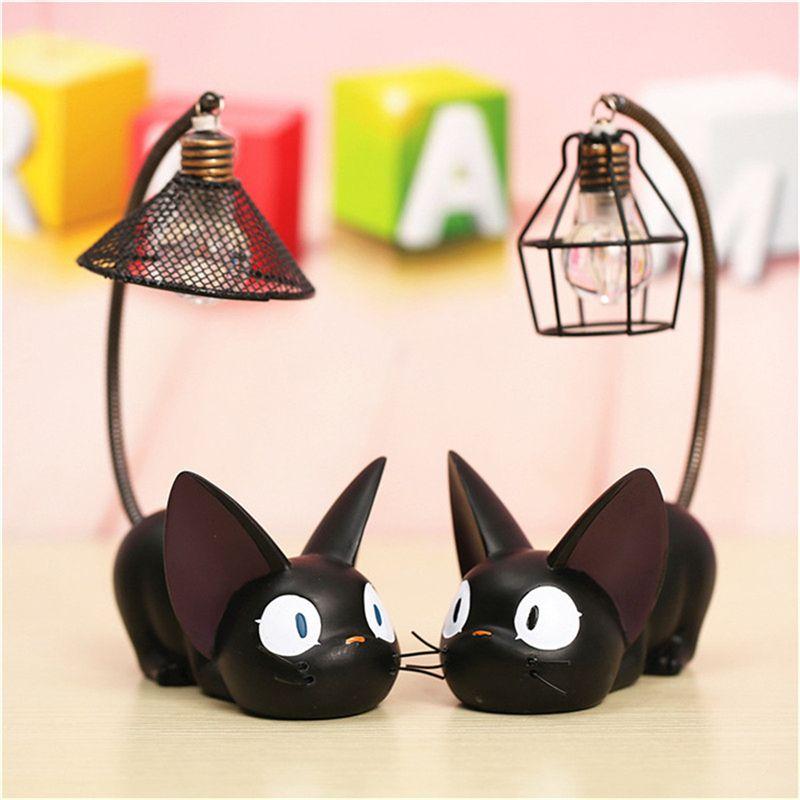 2019 date LED veilleuse JiJi petits chats jouet nuit lampe pour enfant LED bureau lumière décoration de la maison résine enfants dessin animé chambre lampe