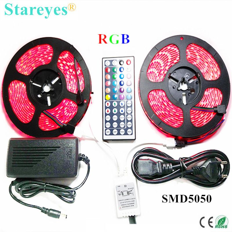 1 set SMD 5050 60 LED/M 10 mètres RGB LED bande bande lampe de poche éclairage IP65 bande étanche + 44 clé à distance + adaptateur secteur 6A