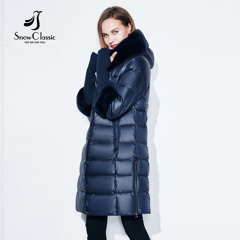 Snowclassic Winter Women Coat Jacket Padded Hooded Coats Three Quarter Warm Jackets Fur Collar Zipper Solid High Quality New