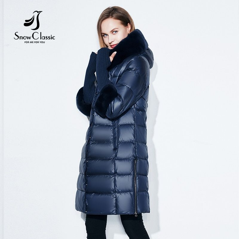 Snowclassic Winter Women Coat Jacket Padded Hooded Coats Three Quarter Warm Jackets Fur Collar Zipper Solid High <font><b>Quality</b></font> New