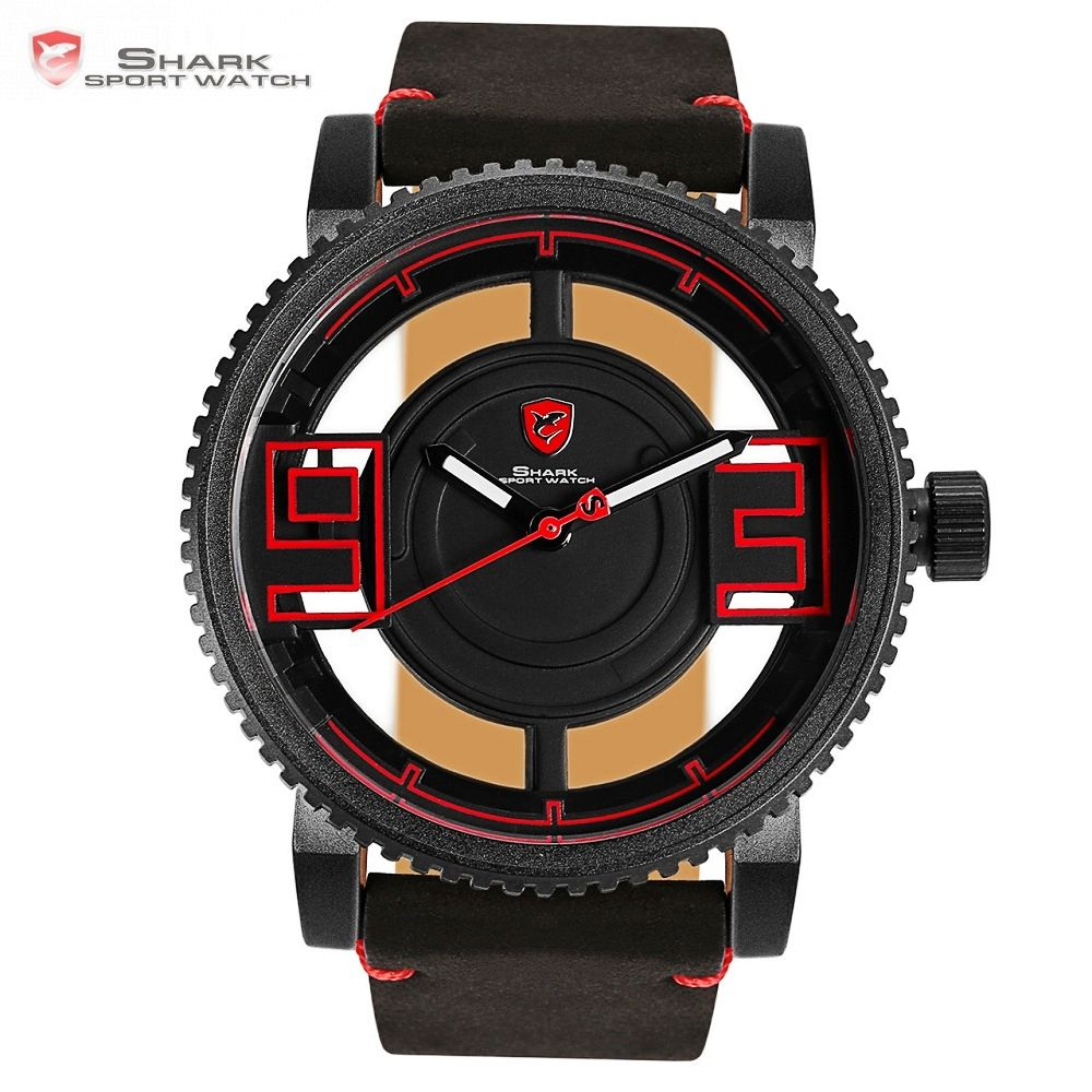 Megamouth Shark Sport Watch Black Red 3D Special Transparent Designer Hollow Top Brand Leather Wrist Quartz Mens Watches /SH542