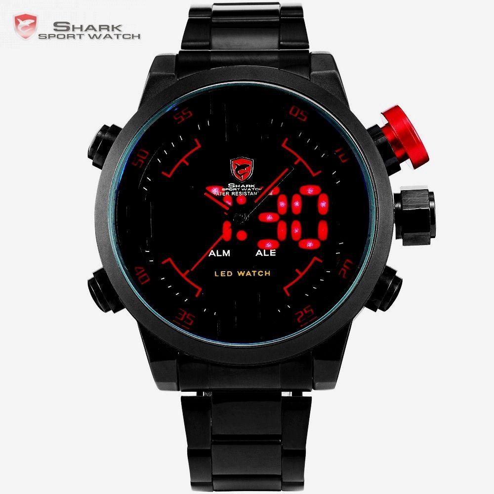 Gulper SHARK Sport Watch Digital LED Men Top Brand Luxury <font><b>Black</b></font> Red Calendar Steel Band Wrist Quartz Watches Reloj Hombre /SH105